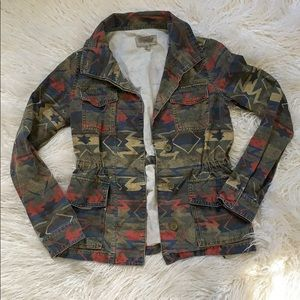 Faded Aztec Print Small Multi Color Army Jacket